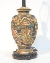 SATSUMA LAMP WITH FIGURES IN LANDSCAPE