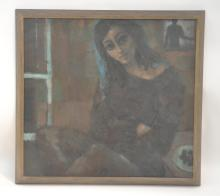 OIL ON CANVAS PORTRAIT OF SEATED GIRL SIGNED