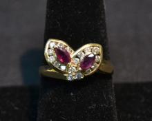 14kt DIAMOND & RUBY RING - SIZE 9