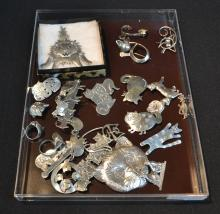 (23)pc's STERLING SILVER & PEWTER CAT PINS & RINGS