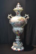 LARGE HAND PAINTED TWIN HANDLE COVERED URN
