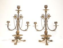 (Pr) BRONZE CANDELABRAS WITH MASKS & CLAW FEET