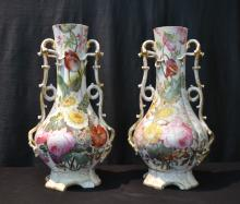 (Pr) HAND PAINTED ENGLISH PORCELAIN VASES WITH