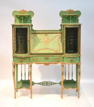 GREEN PAINTED DECORATED DOUBLE SIDE BY SIDE