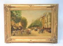 OIL ON CANVAS FIGURES IN STREET SCENE WITH