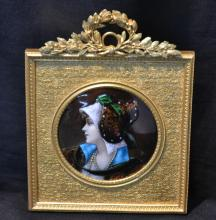FRENCH ENAMEL ON COPPER PORTRAIT OF YOUNG