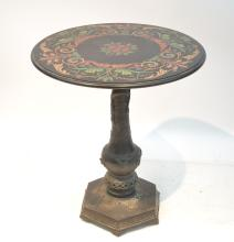 PIETRA DURA INLAID MARBLE TOP END TABLE
