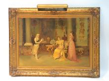 OIL ON CANVAS INTERIOR COURTING SCENE WITH