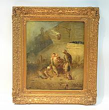 19thC OIL ON CANVAS DEPICTING MINERS WITH TOOLS