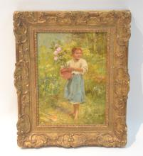 OIL ON CANVAS OF GIRL WITH FLOWERS IN GARDEN