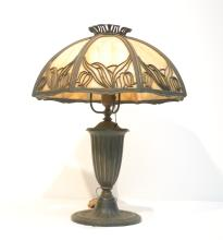 8-PANEL SLAG GLASS LAMP WITH FLORAL FILIGREE