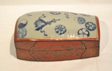 ORIENTAL RED LACQUERED BOX WITH PORCELAIN