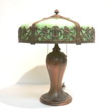 CHARLES PARKER ? 6-PANEL SLAG GLASS LAMP