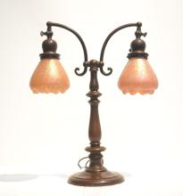 2-LIGHT BRONZE LAMP BASE WITH RUFFLED ART GLASS