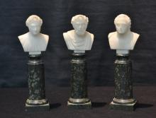(3) MINIATURE ROMAN MARBLE MUSTS ON GREEN MARBLE