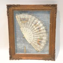 HAND PAINTED FRENCH COURTING SCENE FAN