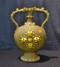 SZOLNAY TWIN HANDLE VASE WITH RAISED DECORATIONS
