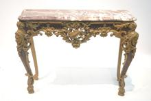 EARLY 19thC CARVED GILT MARBLE TOP CONSOLE
