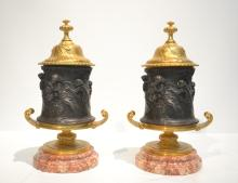 (Pr) 2-TONE BRONZE COVERED URNS WITH ALLEGORICAL