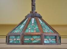 ARTS & CRAFTS MISSION OAK & LEADED SLAG GLASS