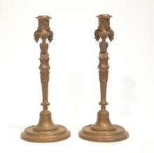 (Pr)  BARBEDIENNE BRONZE CANDLE STICKS WITH