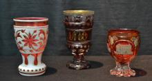 (3) BOHEMIAN GLASS CUPS TO INCLUDE PINK OVERLAY ,