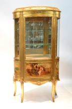 LARGE VERNIS MARTIN STYLE GILT CURIO WITH