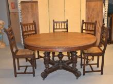 OVAL OAK DINING TABLE WITH CARVED GADROONED