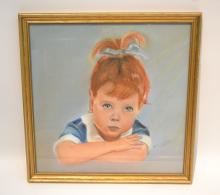 PASTEL PORTRAIT OF YOUNG GIRL SIGNED