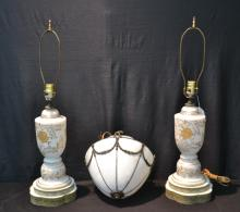 (Pr) WHITE & GOLD GLASS LAMPS ; 20