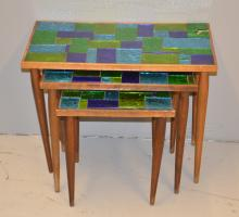 (3) GEORGES BRIARD GLASS TOP NESTING TABLES