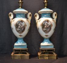 (Pr) CONTEMPORARY TWIN HANDLE CERAMIC LAMPS