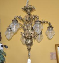 ORNATE BRONZE CHANDELIER WITH CHILD MASKS &