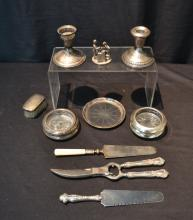 STERLING SILVER LOT - POULTRY SHEARS , COASTERS