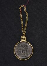 14kt GOLD KEY CHAIN WITH ROMAN COIN