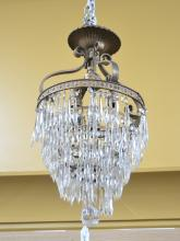 GILT METAL & CASCADING CRYSTAL CHANDELIER