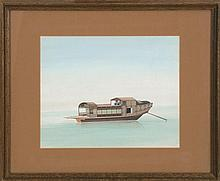 FRAMED GOUACHE PAINTING ON PAPER Depicting a riverboat. Mat opening 10.5