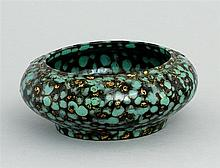 PORCELAIN WRITER'S COUPE In squat ovoid form with unusual gold, turquoise, and black glaze. Ruyi design at rim. Six-character impres..