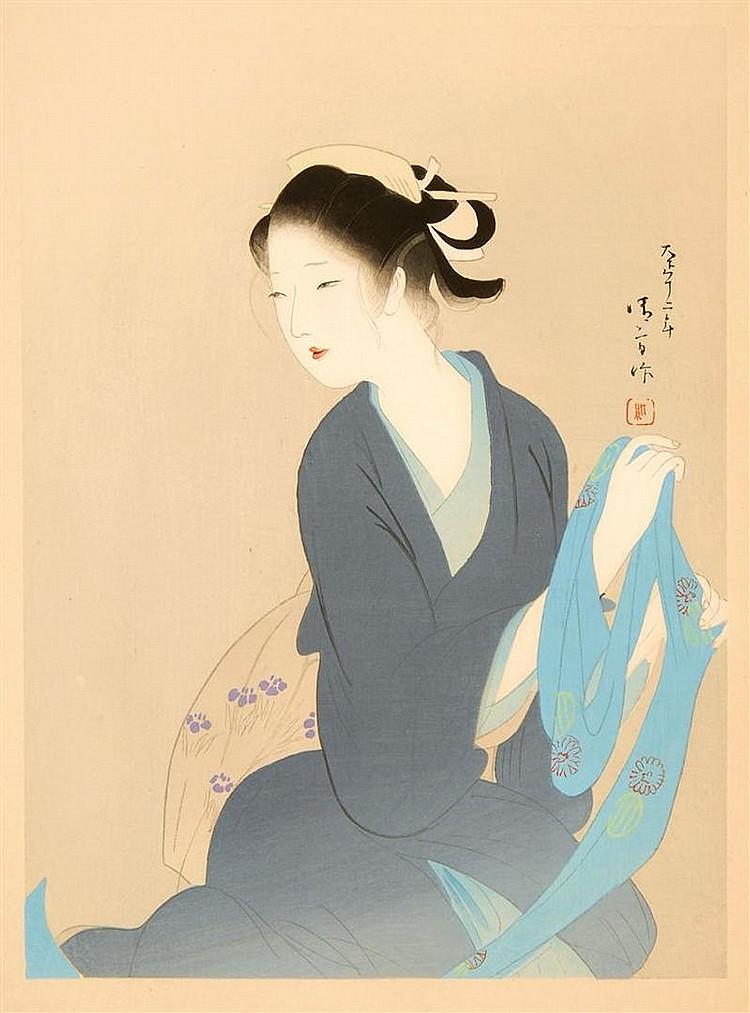 "KABURAGI KIYOKATA The Heroine Osai in ""Yari no Gonza Kansane Katabira"" seated holding a turquoise scarf with two mons. Supplement of..."
