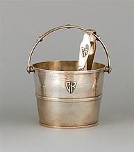 LEBOLT & CO. HANDMADE STERLING SILVER ICE BUCKET AND TONGS Both with hammered finish and applied monogram. Ice bucket in the form of...