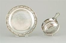 TIFFANY & CO. STERLING SILVER BABY'S PORRINGER AND PLATE Each with acid-etched reserve of animals and Noah's ark. Plate diameter 7.5.