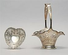 TWO PIECES OF GORHAM PIERCED STERLING SILVER HOLLOWWARE A basket and a heart-form dish. Basket with monogrammed static handle and st...
