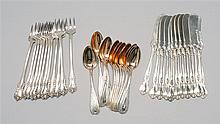 THIRTY-SIX PIECES OF STERLING SILVER FLATWARE By various makers. Includes twelve brite-cut demitasse spoons by Shreve, Crump & Low,...