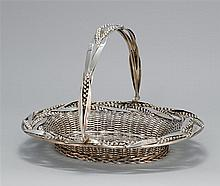 VICTORIAN STERLING SILVER BASKET Padley, Staniforth & Co., maker. In oval form with swing handle. Wide rim decorated with heads of w...