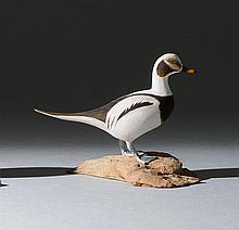 MINIATURE OLD SQUAW DRAKE By Harold Gibbs of Barrington, Rhode Island. Signed on underside of driftwood base