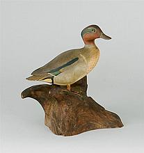 MINIATURE GREEN-WINGED TEAL DRAKE By Wendell Gilley of Southwest Harbor, Maine. Head turned slightly right. Carved wing and tail fea...