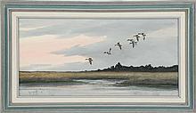 WILLIE CROCKETT, Maryland, Contemporary, Mallards in flight over a marsh., Oil on masonite, 12