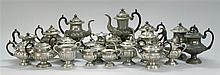 TWENTY-ONE PIECES OF PEWTER Includes coffeepots, teapots, creamers and a waste bowl. Several with maker's marks. Heights from 5.5