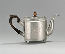 RARE AND IMPORTANT ANTIQUE AMERICAN PEWTER TEAPOT BY ISRAEL TRASK Jacob's mark #262. Engraved shield and monogram on either side. Wo..