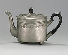 ANTIQUE AMERICAN OVAL PEWTER TEAPOT BY ISRAEL TRASK Jacob's mark #262. Wooden handle and finial. Upper portion of body with floral e..